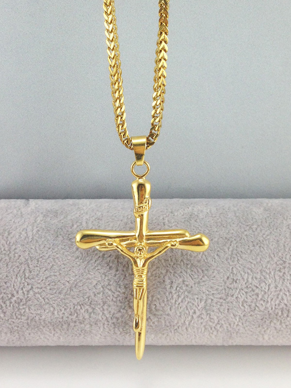 stainless s steel cross plated gold necklace jewellery length peter pendant st item real inverted