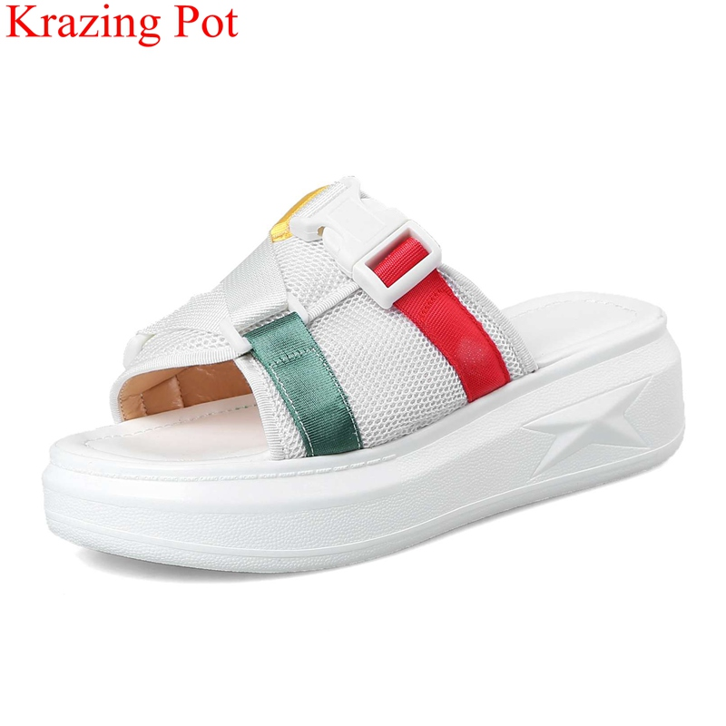 2018 superstar mixed colors wedge women sandals open toe beach outside slipper mules slingback casual elegant summer shoes L85