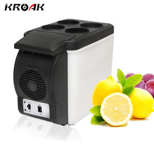 6L Car Refrigerator Portable Vehicle Fridge Electric Cool Box Cooling And Warming Dual-purpose Kitchen Household White 12V DC