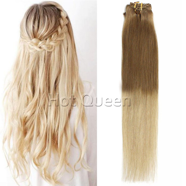 Light Golden Brown To Ash Blondet1022 Clip In Human Hair
