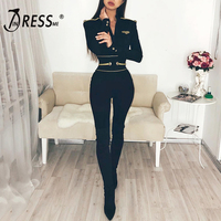 INDRESSME Sexy Deep V Long Sleeve Women Bandage Jumpsuits Solid Tassel Badge Epaulet Women Bodysuits Fashion Full Bodycon Romper
