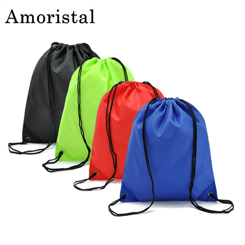 Portable Unisex Drawstring Bag Polyester Women String Sack Beach Backpack Male Folding Shopping Bag Men Football Bags Cheap B219