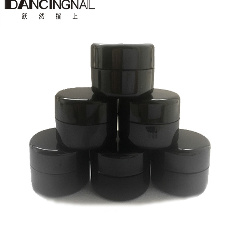 10pcs Black Small Round Cream Bottle 5g Jars Pot Container Empty Cosmetic Plastic Sample Box For Nail Art Gel Glitter Storage 100 pcs cosmetic bottle screw flat cover beautiful beauty skin care bottle washing and bathing dew storage container 20ml