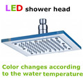 Frete Grátis Transparente 3 Cores (bule, rosa, vermelho) LED Cabeça de Chuveiro Chuveiro Muda de Cor de Acordo Com a Temperatura Da Água
