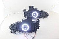 eOsuns Innovative COB angel eye led daytime running light DRL +Fog Light + Projector Lens + fog lamp switch for Mazda 3 2007 09
