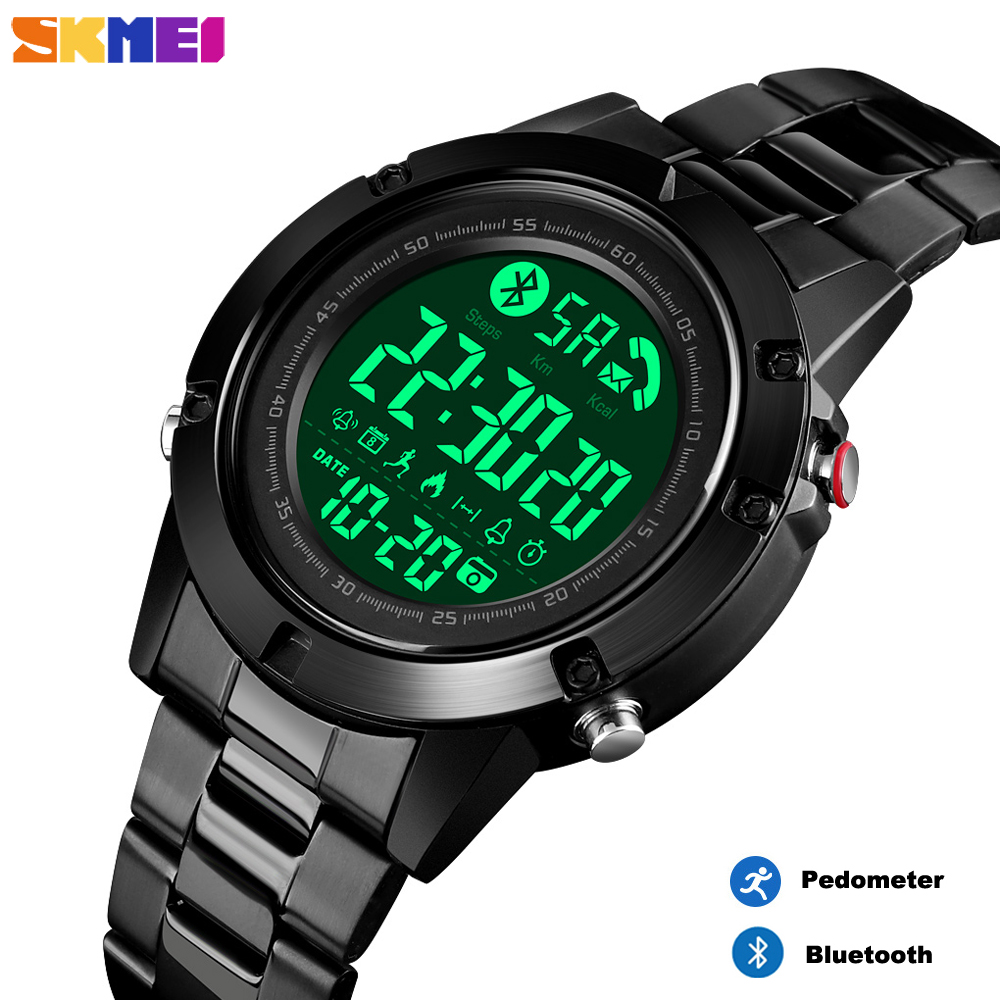 SKMEI Smart Bluetooth Men's Watch Pedometer Calorie Fitness Clock Digital Heart Rate Sleep Wristwatch Monitor reloj inteligente