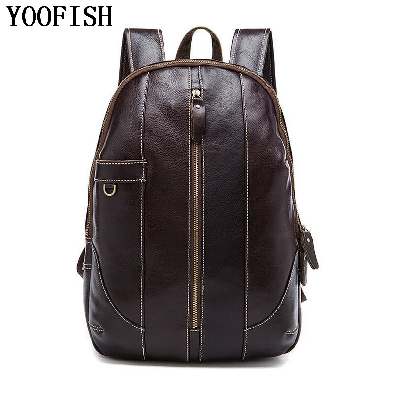 Genuine Leather Backpack Men Casual Travel Backpacks School Shoulder Bags big capacity backpack leather bag free shipping new gravity falls backpack casual backpacks teenagers school bag men women s student school bags travel shoulder bag laptop bags