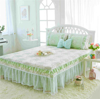 Korean style Bed Skirt Pillowcase Bed Sheets 3pcs 100% Cotton Lace Bedspread Pastoral Pure color green white Flower luxury set