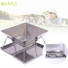 Folding Stainless Steel BBQ Grill Portable Camping Grills Outdoor Charcoal Rack Barbecue Accessories For Kitchen Tools
