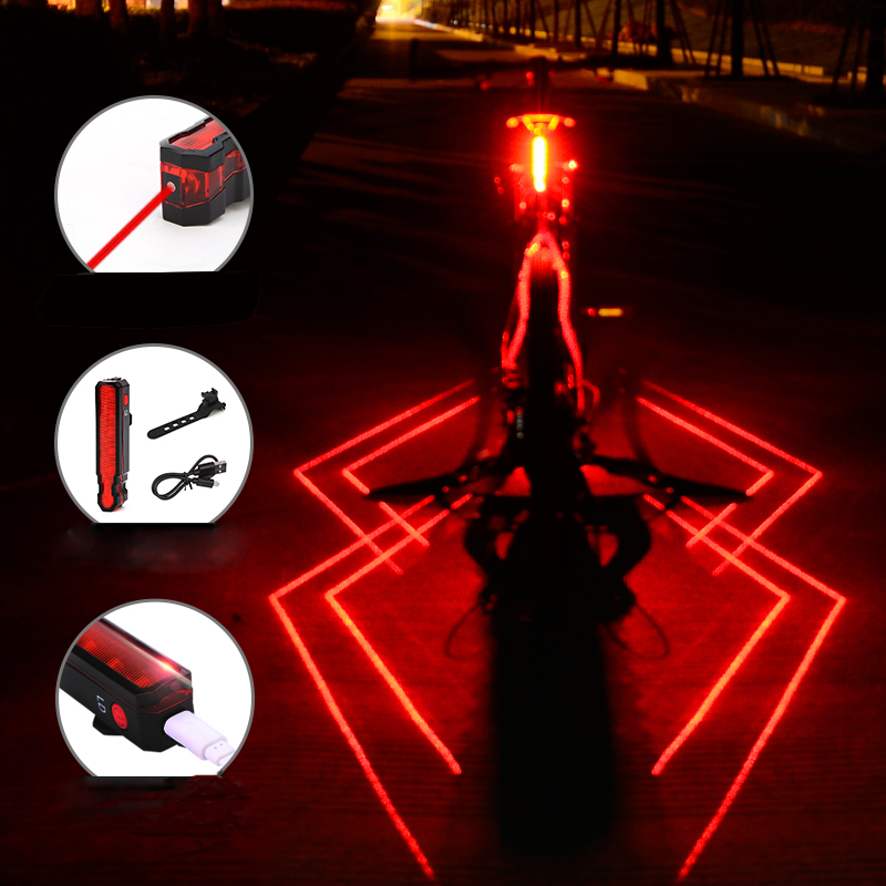 Folding Laser Bike Light Front Rear Safety Warning Bicycle Light USB Rechargeable Bike Tail Rear Light Waterproof Cycling Lamp