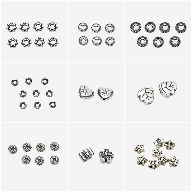 цена на Free Shipping 50Pcs / Lot European Zinc Alloy Antique Silver Crimp End Bead for Bracelet Making EC6