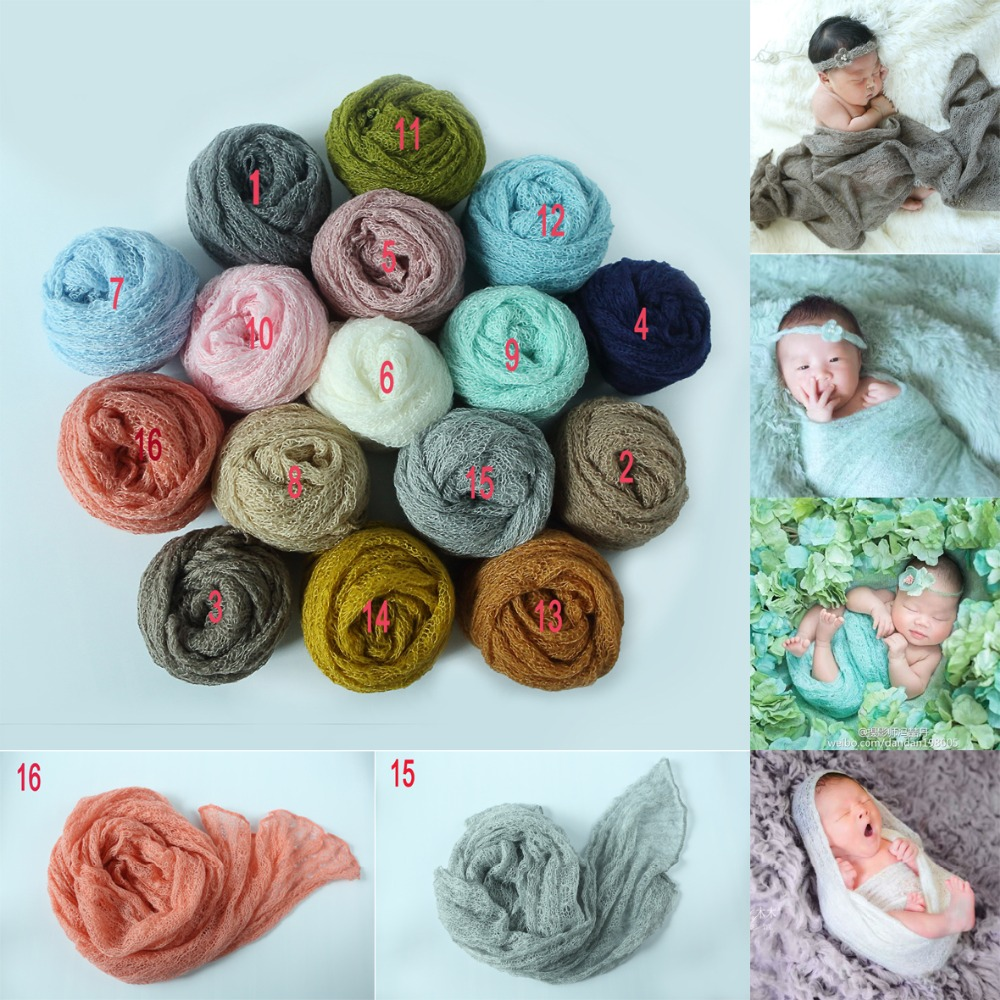 pcs x cm beb recmnascido foto prop stretchy knit envoltrio mohair acrlico estiramento
