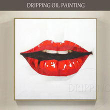 цена на Pure Hand-painted High Quality Modern Wall Art Red Lip Oil Painting on Canvas Modern Red Lip Kiss Oil Painting for Friend Gift