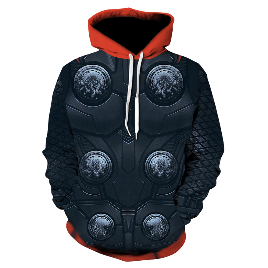 2018  Men's Hoodie Fashion Mens Thor 3d Print Pullover Street Casual Cosplay Sweatshirt 6XL