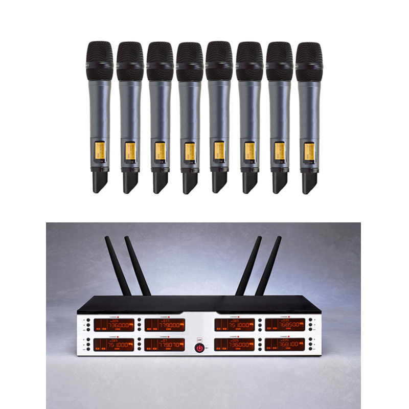 UHF 8 Canaux De Poche Sans Fil Microphone Système IR Sync Sans Fil Mic Professionnel pour KTV Chant Party Club École