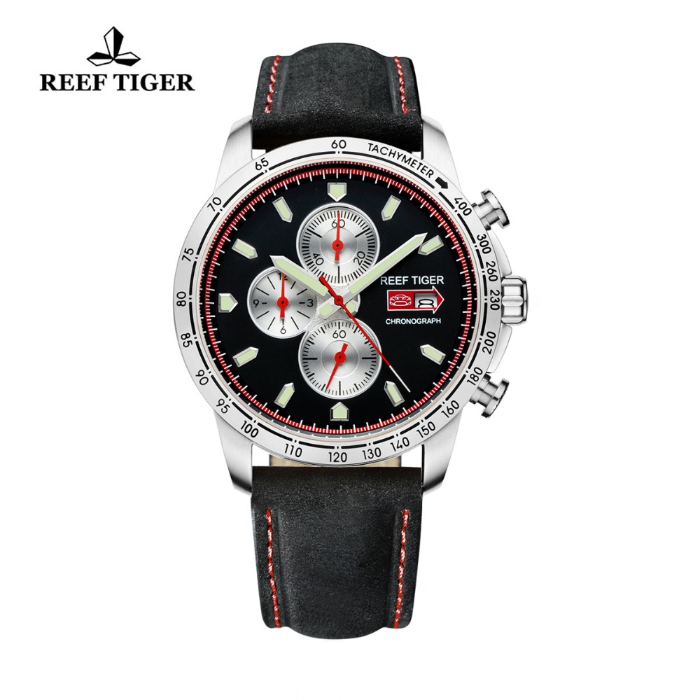 Reef Tiger/RT Mens Sport Watch with Chronograph Date Luminous Black Dial Stainless Steel Watch Brown Leather Band RGA3029Reef Tiger/RT Mens Sport Watch with Chronograph Date Luminous Black Dial Stainless Steel Watch Brown Leather Band RGA3029