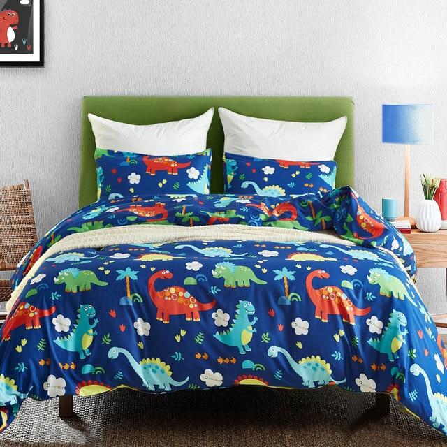 Cartoon Bed Clothes Kids Bed Linen Set Dinosaur Bedding Set Bedclothes  Microfiber Comforter Duvet Cover Set