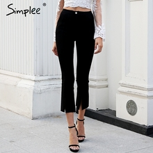 Simplee Split skinny flare pants capri Stretch black jeans trousers women bottom Streetwear summer high waist jeans pants 2018