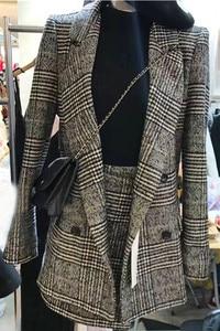 Image 3 - CBAFU di autunno della molla giacca a maniche lunghe cappotto delle donne outwears plaid tweed gonne delle donne del vestito 2 pezzi imposta donne vestiti N630