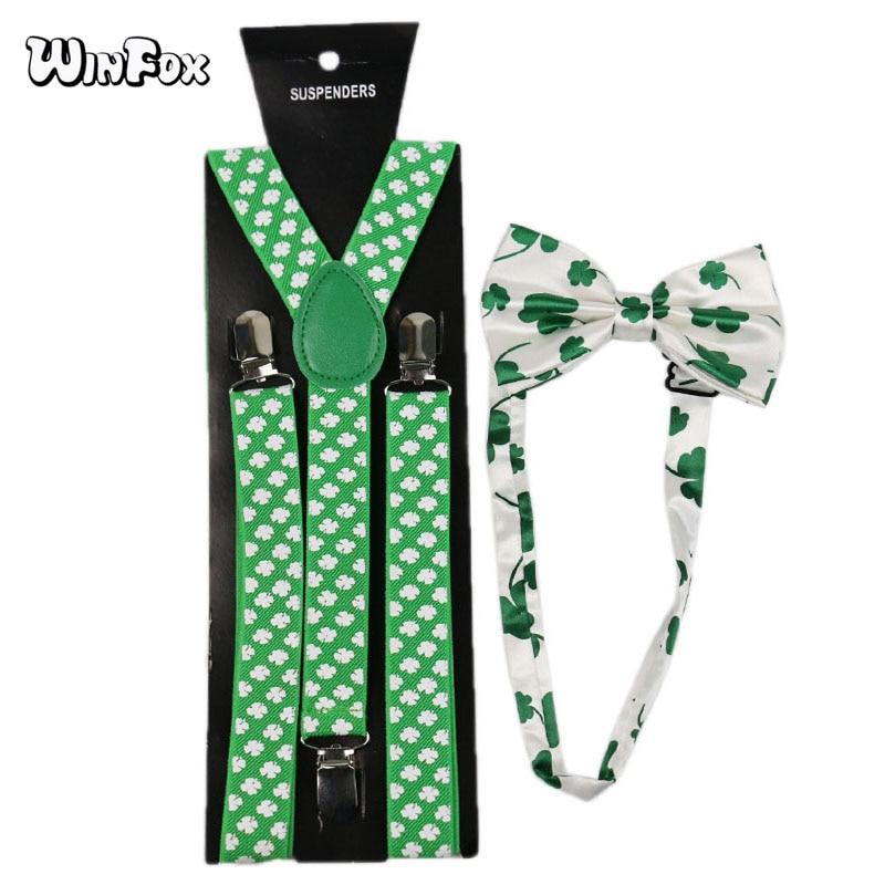 Winfox Fashion Green White Clover Man's Suspenders Bowtie Set Women Men 2.5cm Wide Suspenders Braces Bow Tie