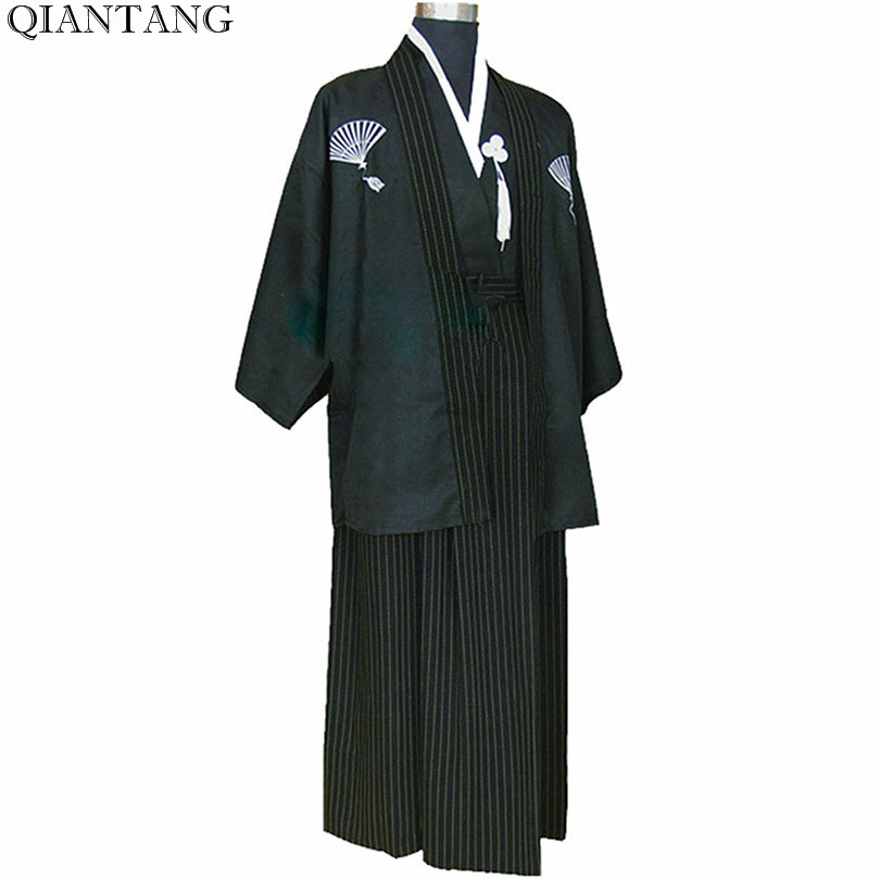 Kimono guerrier noir Vintage japonais homme Polyester Yukata Haori avec Obi vetement taille unique Hombres Quimono B-0002
