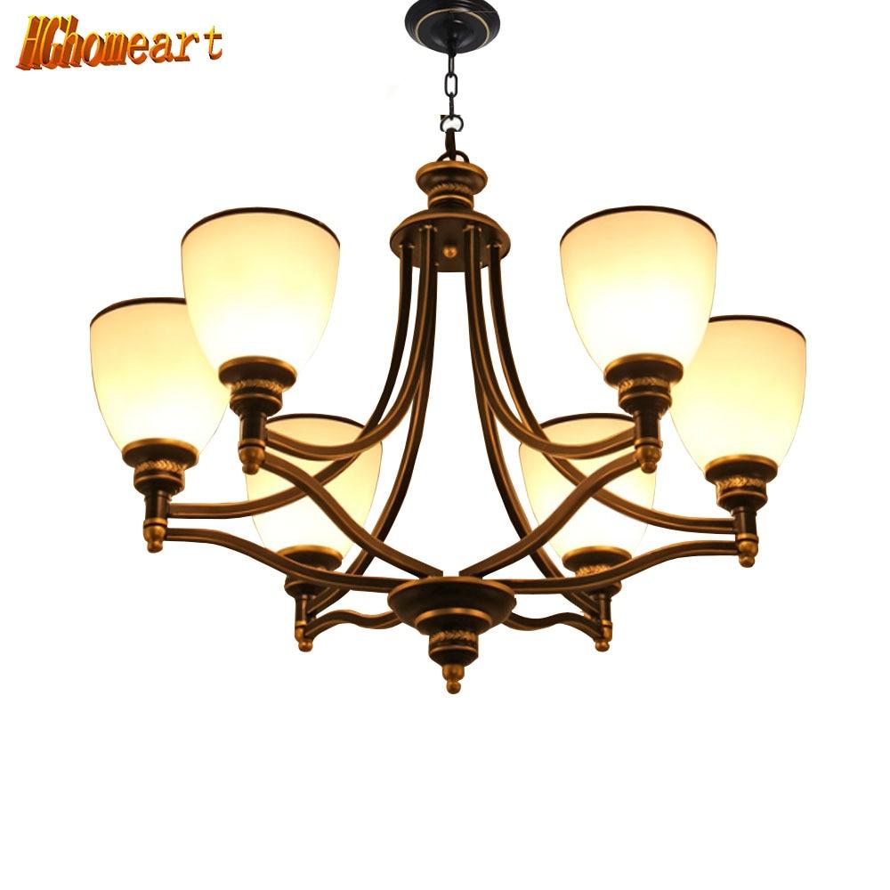 HGHomeart American Chandelier  LED Retro Iron Chandeliers Living Room Bedroom Restaurant Lights Nordic E27 Lighting Lamps
