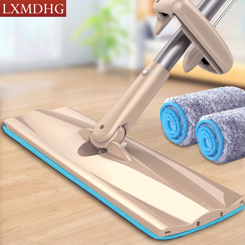 Multifunction Free Hand Big Flat Mop Roller Pulling Squeezing Water Mop Suitable Wood Floor Bottom 360 Degree Swiveling Mops