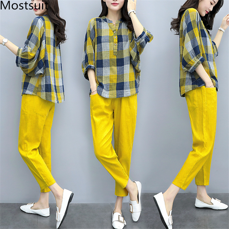 S-3xl Spring Summer Yellow Two Piece Sets Women Plus Size Plaid Blouses Shirts And Pants Suits Casual Fashion Elegant Korean Set