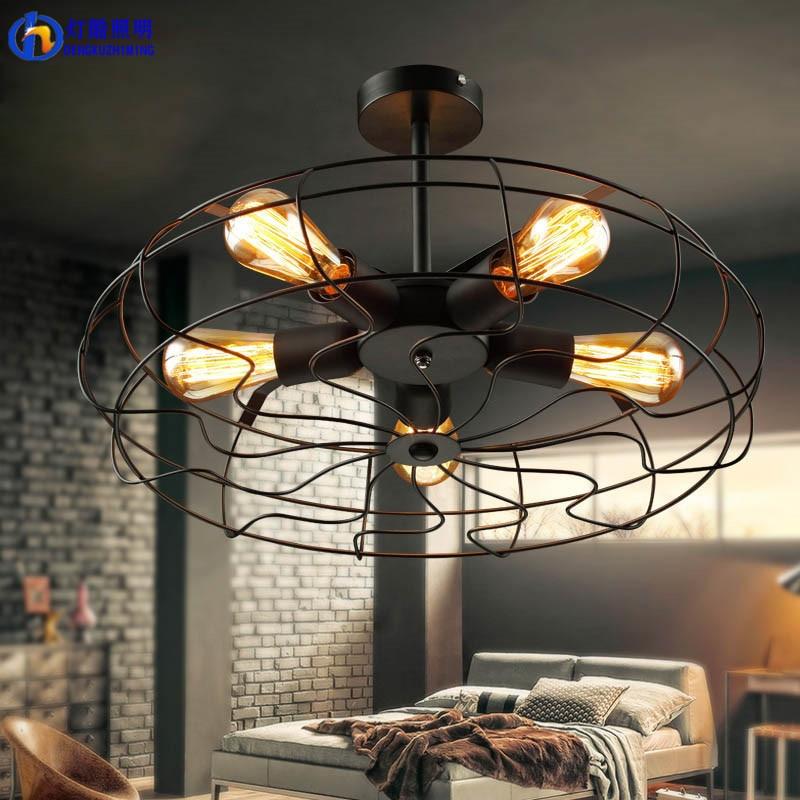 Fan lamp Industrial Vintage style 220V Semi Flush Mount <font><b>Ceiling</b></font> Light Metal Hanging Fixture lighting E27 Bulb ZXD0016