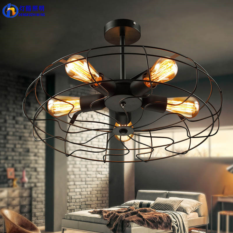 Fan lamp Industrial Vintage style 220V Semi <font><b>Flush</b></font> <font><b>Mount</b></font> Ceiling <font><b>Light</b></font> Metal Hanging Fixture lighting E27 Bulb ZXD0016