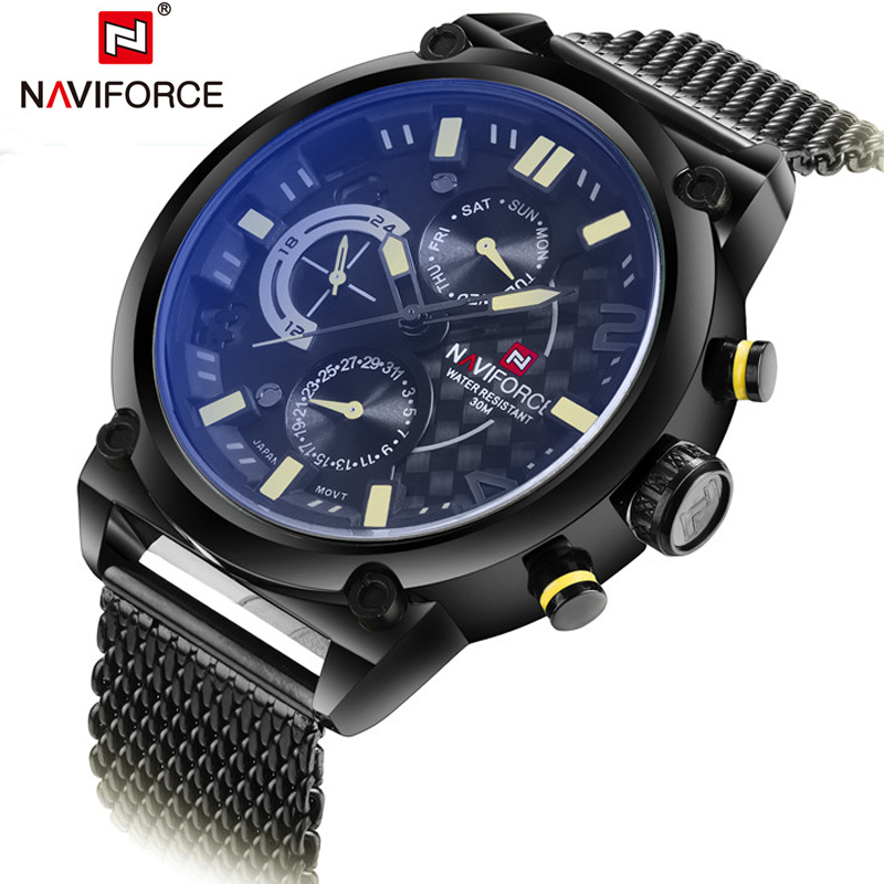 2018 Fashion Casual Mens Watches Top Luxury Brand NAVIFORCE Military Quartz Watch Men Waterproof Wristwatch Relogio Masculino naviforce fashion watch men casual mens watches top brand luxury military quartz wristwatches leather dive relogio masculino