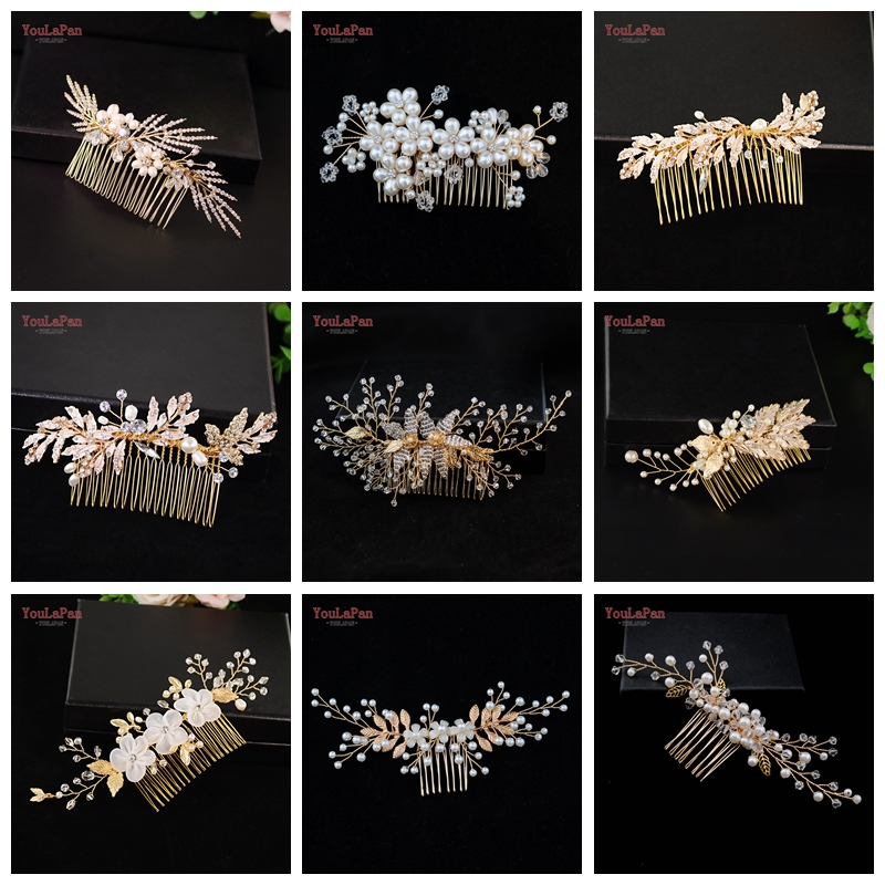 YouLaPan Wedding Hair Accessories Wedding Comb Handmade Hair Jewelry Bridal Alloy Leaf Combs Bridesmaid Bride Headpiece