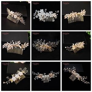 YouLaPan Wedding Hair Accessories Wedding Comb Handmade Hair Jewelry Bridal Alloy Leaf Combs Bridesmaid Bride Headpiece(China)