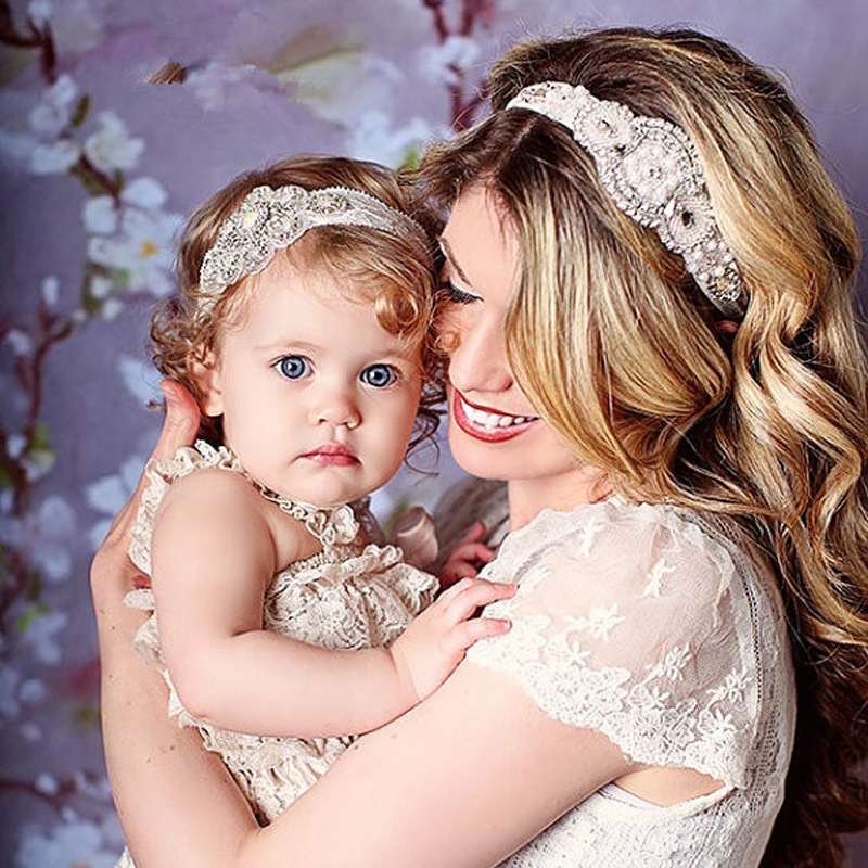 New Mom and Me Headband Vintage Inspired Couture Stunning Luxury Rhinestone Headband Elastic Baby Girl Headband set 2pc rhinestone metal headband