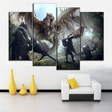 One Set Framework Or Frameless Painting Modern HD Print Type 4 Piece Monster Hunter World Game Canvas Poster Home Decor Wall Art