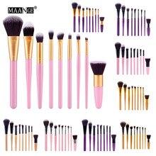 New 9pcs Purple Makeup Brushes Set Synthetic Hair Make Up Brush Tools Cosmetic Professional Foundation Kits