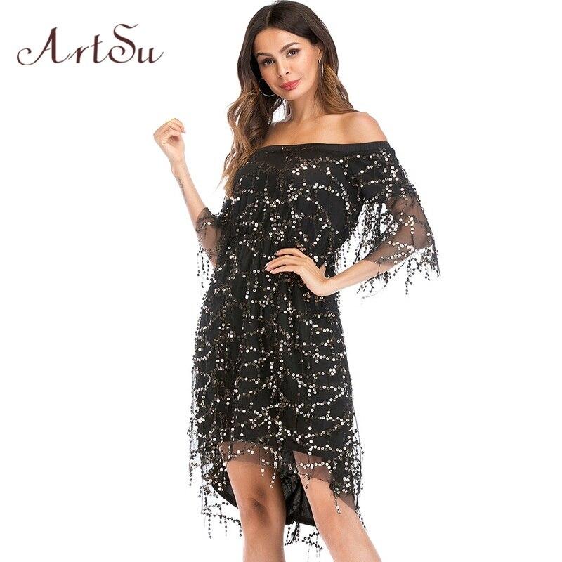 ArtSu Women Dress Sexy Party Club Sequin Dresses Off Shoulder Female Vestidos Fashion Tassel Mesh Prom Gown Mujer ASDR21086