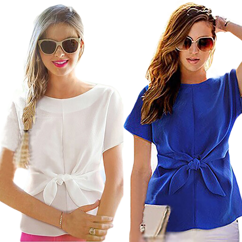 New Blue Women Summer Blouses Chiffon Shirt Short Sleeves Bottoming Shirt O-Neck Girls T Tops With Bowknot