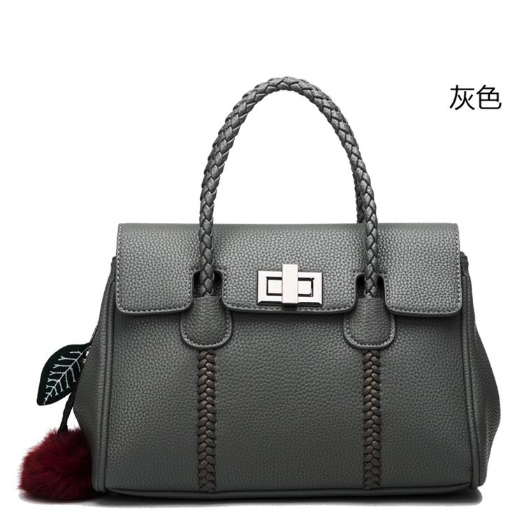 2018 New Famous Designer Brand Bags Women Genuine Leather Ladies Fashion  Handbag Gray Tote Bags Hasp 61820c164be2a