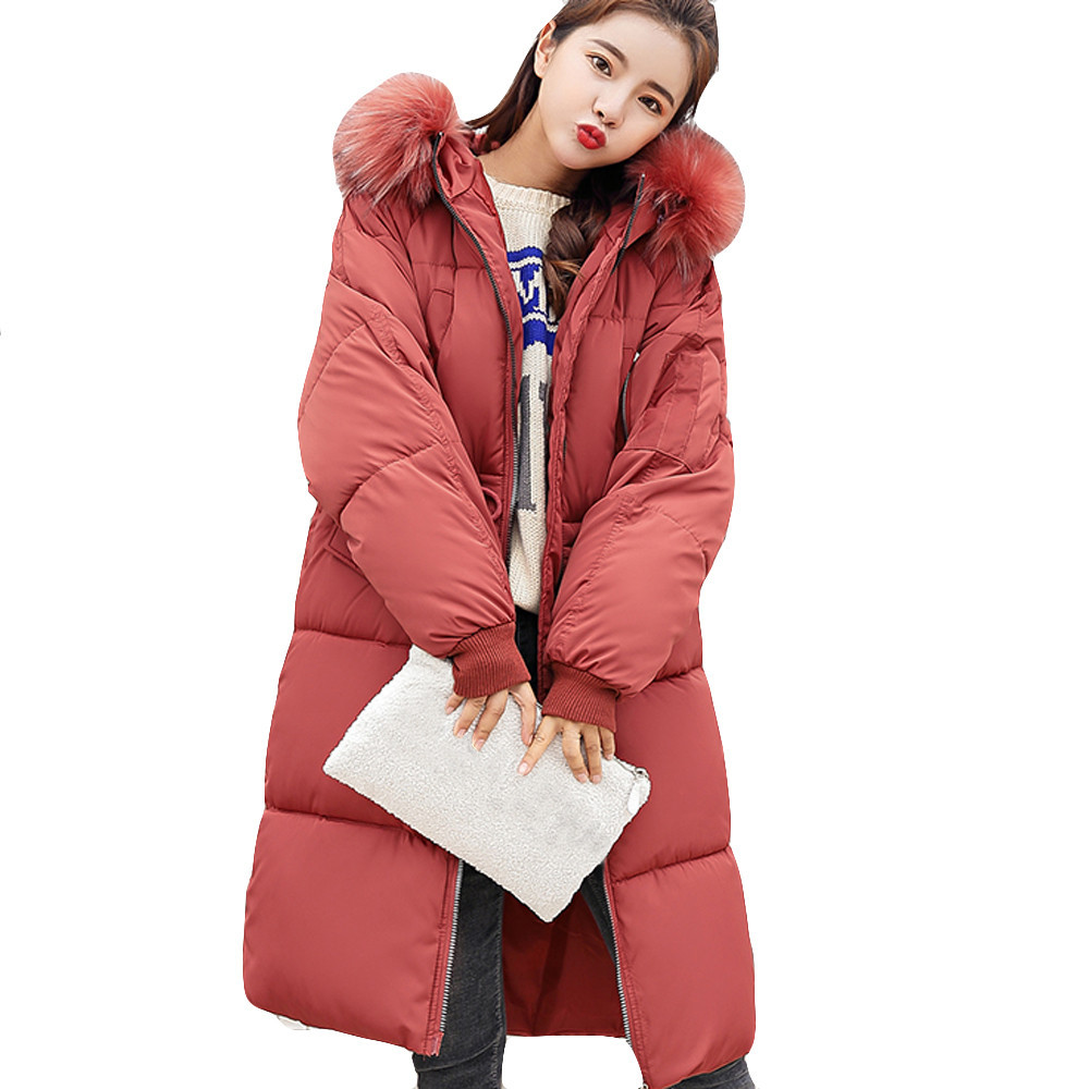 746471b63959 Grand D hiver 2018 Manteau Coton Dames Parka Fourrure Long Red Slim Army  Vers Green watermelon Femmes Veste Épais Couture Le Bas 5rq5Z