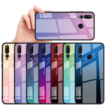 Gradient Tempered Glass Phone Case For Huawei Nova 4 Luxury Painted Layer Coque Capa Nova4 Cover Shell