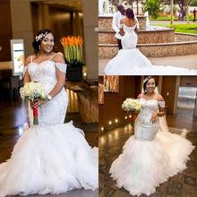 ELNORBRIDAL South African Mermaid Wedding Gowns 2019 Dress