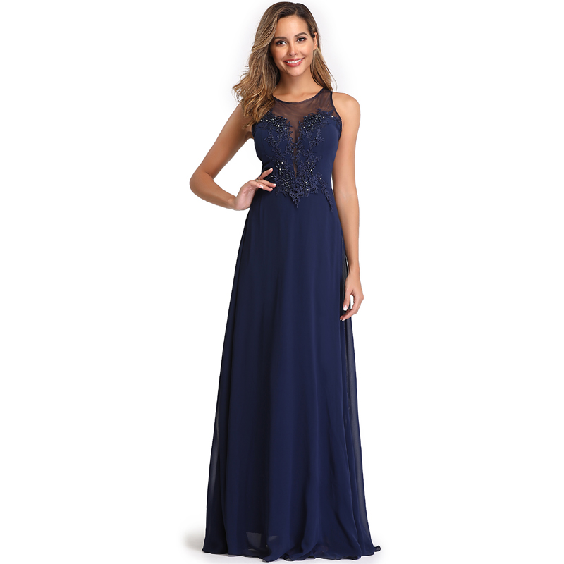 Elegant See-Through Appliques Chiffon Long Evening Dress 3