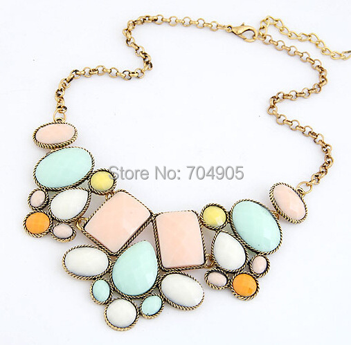 Olaru Wholesale 2014 New Fashion Jewelry Five Colors Geometric Polygon Good Quality Alloy Women Necklace For Free Shipping