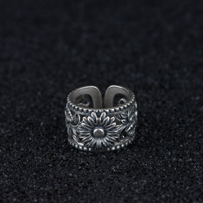 S925 silver vintage Thai silver craft ring fashion ladies open flower silver ring womans ringS925 silver vintage Thai silver craft ring fashion ladies open flower silver ring womans ring