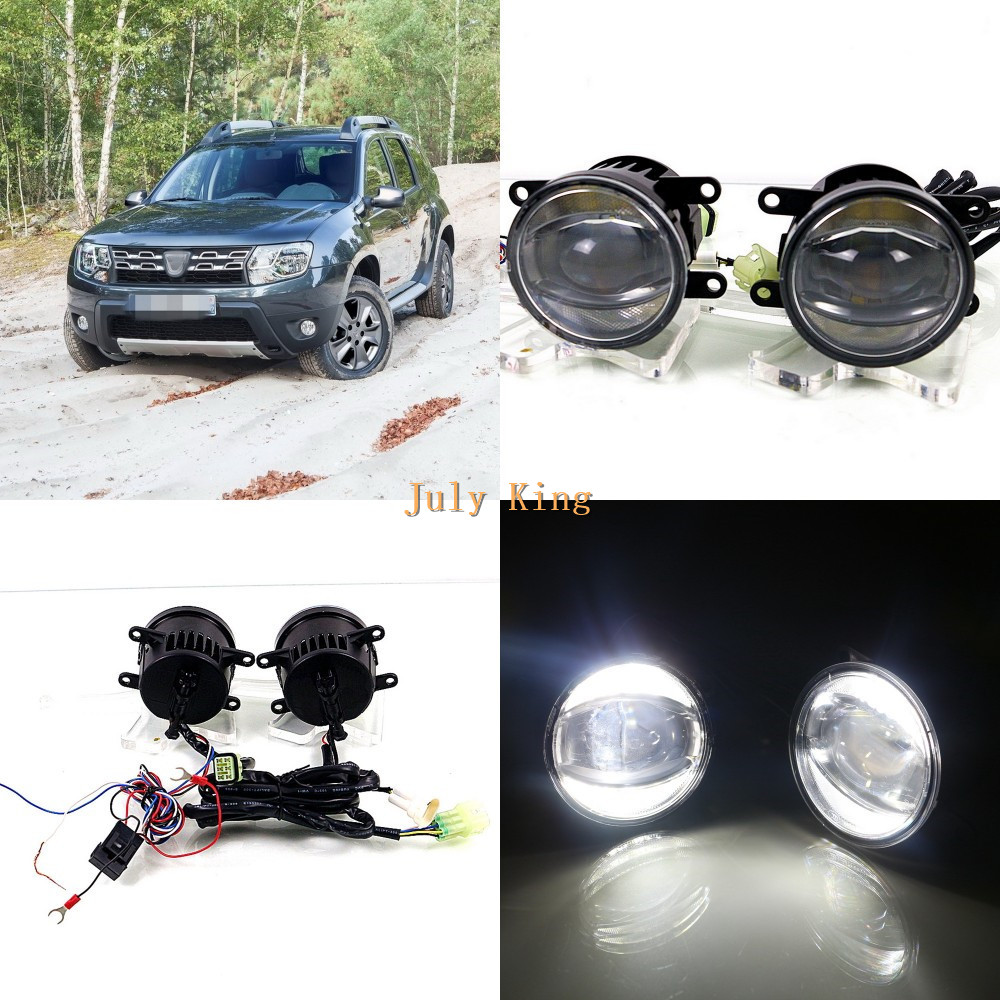 July King 1600LM 24W 6000K LED Light Guide Q5 Lens Fog Lamp +1000LM 14W Day Running Lights DRL Case for Dacia Duster 2010+ авто в москве dacia duster