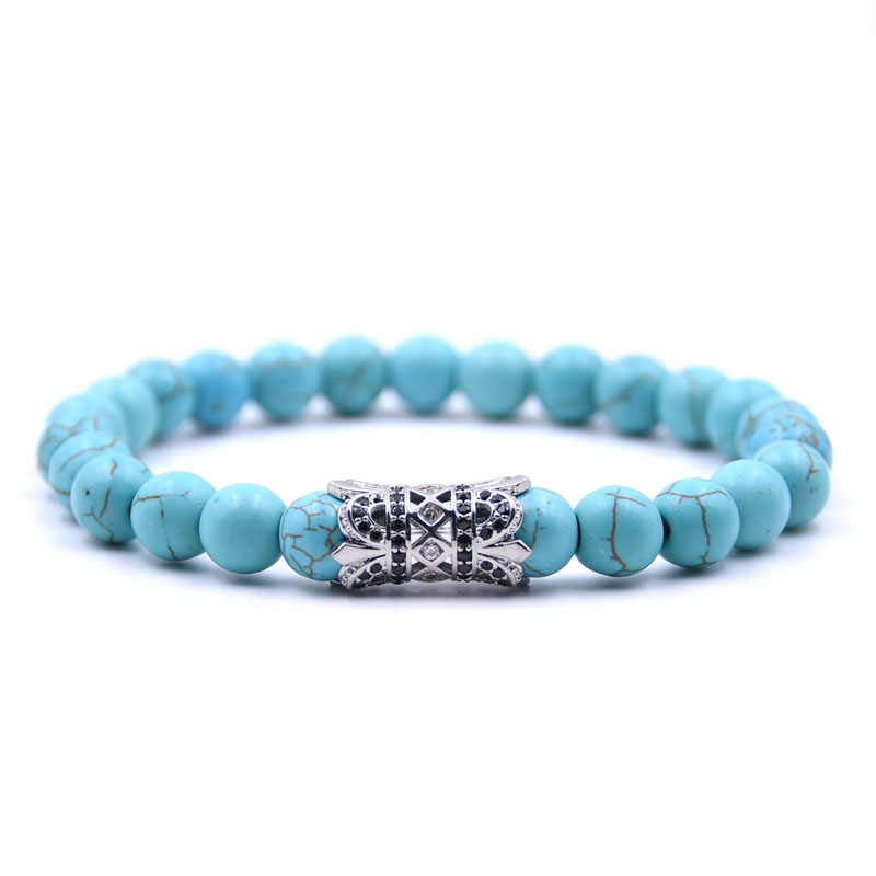 Kang hua 2019 popular charm 5 color 8mm stone Dazzling Bracelet Pave CZ Silver Flower tube Bracelets for Men Women Jewelry gifts in Strand Bracelets from Jewelry Accessories