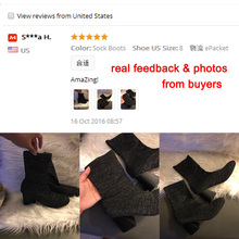 LALA IKAI Shiny Sock Women Ankle Boots 2016 Stretch Fabric Women Boots Autumn Winter Socks Shoes Woman XWN0875-4