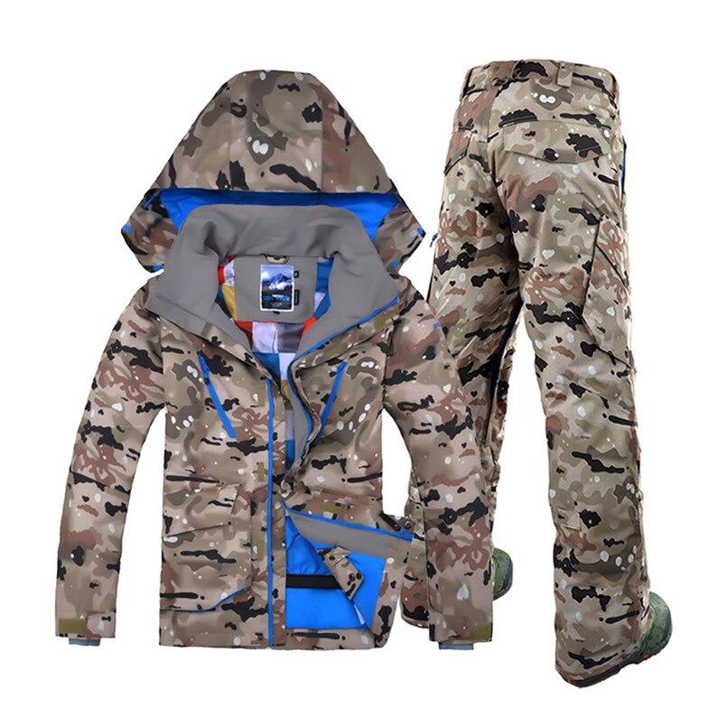 Gsou Neige De ski de Marque costumes pour hommes camouflage snowboard vestes pantalon hommes hiver montagne ski costumes veste vêtements de ski hommes