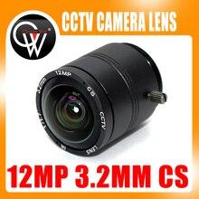 Чуан Wei 12 мегапикселей 4 К 3.2 мм объектив с фиксированным CS Объектив 12MP 3.2 мм 150 градусов 1/1. 7 дюймов для 4 К IP камеры видеонаблюдения окно